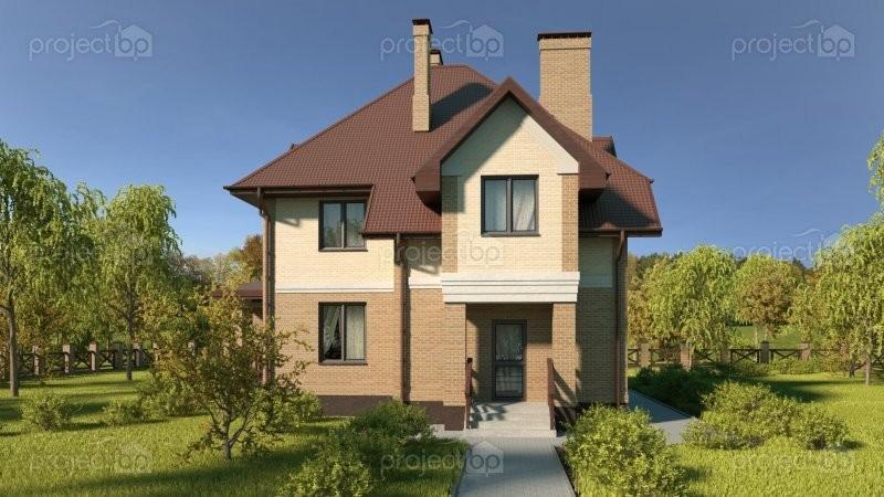 Проект двухэтажного дома со сложной крышей 142-C